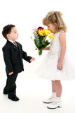 Boy Surprising Girl With Flowers. Toddler boy in suit giving flowers to pretty little girl in pageant dress. Shot in studio over white Stock Image