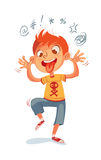 Boy swearing and grimacing. The boy swearing and grimacing for the camera. Funny cartoon character. Vector illustration.  on white background Royalty Free Stock Images