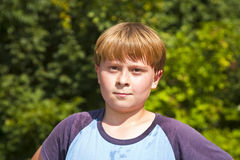 Boy with sweating face after sport Royalty Free Stock Image