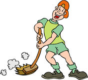 Boy Sweeping. Cartoon artwork line-art Royalty Free Stock Photography