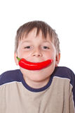 Boy with sweet pepper Royalty Free Stock Photo