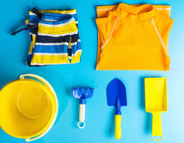 Boy Swiming suit and beach accesories flat lay Stock Photos