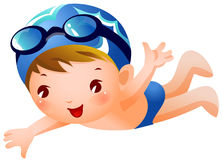 Boy Swimmer. A boy is swimming wearing blue swimming costume and cap Stock Photo