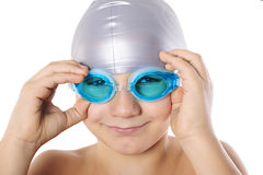 Boy swimmer with swimming goggles Royalty Free Stock Image