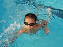 Boy swimming. A little asian boy in swimming pool