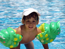 Boy after swimming. Little boy after swimming in the family pool Royalty Free Stock Photo