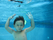 Boy swimming Stock Photo