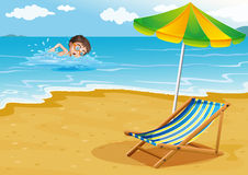 A boy swimming at the beach with an umbrella and a bed vector illustration