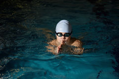 Boy swimming breaststroke Royalty Free Stock Image