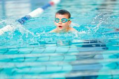 Boy swimming Freestyle. Child is practicing swim in pool with blue googles Stock Photo