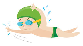 Boy swimming freestyle in water Royalty Free Stock Image