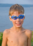 Boy in swimming glasses Stock Photos