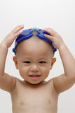 Boy with swimming goggles Stock Image