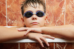 Boy in swimming goggles Royalty Free Stock Photos