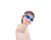 Boy in swimming goggles Royalty Free Stock Photography