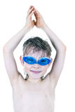 Boy in Swimming Goggles Stock Photo