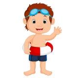 Boy swimming. Illustration of cute boy swimming Royalty Free Stock Image