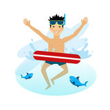 Boy Swimming with Inflatable Circle Royalty Free Stock Photos