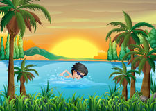 A boy swimming at the lake. Illustration of a boy swimming at the lake Stock Photo