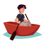 Boy swimming in little boat, kayak, summer vacation concept Royalty Free Stock Photography