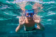 Boy in swimming mask dive in Red sea near pontoon Stock Image