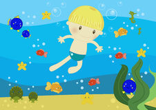 Boy swimming in the ocean. Illustration about a cute little boy swimming in the ocean amongs fishes and bubbles Stock Image