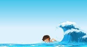 Boy swimming in the ocean. Illustration Stock Photos