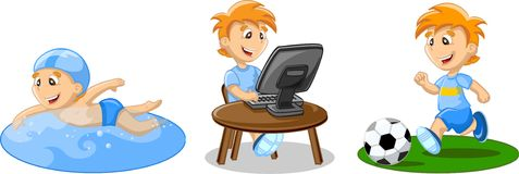 Boy is swimming,vector. Boy is swimming, playing football and working on a computer,vector illustration picture Stock Image