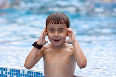 Boy in swimming pool Stock Photo