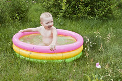 Boy in the swimming-pool Royalty Free Stock Images