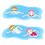 Boy and swimming in the pool. Vector illustration Stock Images
