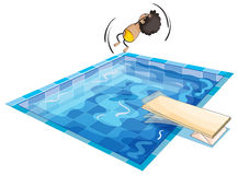 A boy and swimming pool. Illustration of a boy and swimming pool on a white background Royalty Free Stock Images