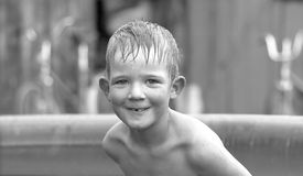 Boy in swimming pool. Smiling boy in swimming pool Stock Photography