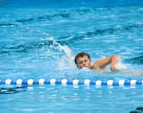 Boy swimming in pool. A teenage boy swimming in a swimming pool, crawl style royalty free stock photography