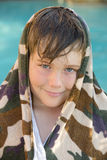 Boy and swimming pool royalty free stock photos