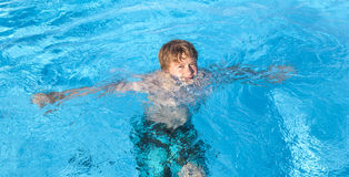 Boy swimming in the pool Stock Image