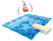 A boy and swimming pool. Illustration of a boy and swimming pool on a white background Royalty Free Stock Image