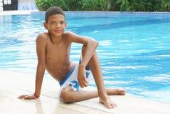 Boy at the swimming pool. Royalty Free Stock Photos