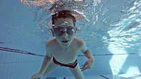 Boy swimming in the pool stock video
