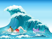 A boy swimming with a shark at the back. Illustration of a boy swimming with a shark at the back Stock Photos