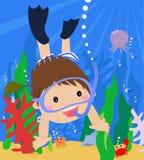 Boy swimming under water. Illustration of boy swimming under water Stock Photo