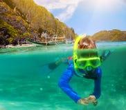 Boy swimming underwater Stock Photography