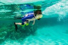 Boy swimming underwater Stock Image