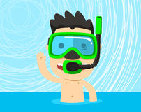 Boy swimming in the water snorkeling. Snorkeling boy swimming with snorkel mask  illustration cartoon Stock Photo
