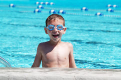 Boy Swimming With Goggles Stock Photos
