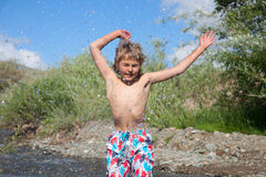 A boy swims Royalty Free Stock Photography