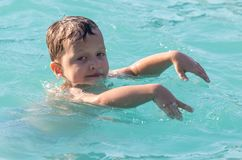 Boy swims in the water park Stock Photography