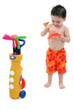 Boy in Swimsuit with Clipping Path Royalty Free Stock Photos