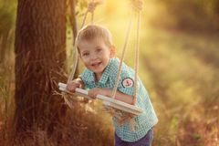 Boy and swing. Camping in the park in the sun smiling little boy on a wooden swing Stock Image
