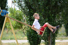 Boy on a swing Royalty Free Stock Image